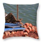 Ruddy Turnstones Perching On Fishing Nets Throw Pillow