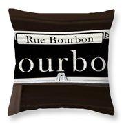 Rue Bourbon Street - New Orleans Throw Pillow
