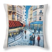Rue De La Huchette, Paris 5e Throw Pillow