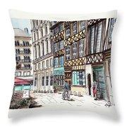 Rue Malpalu, Rouen, France II Throw Pillow