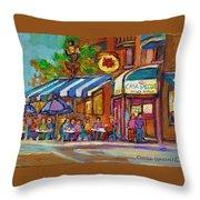 Rue Prince Arthur Casa Grecque Montreal Throw Pillow