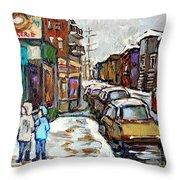 Achetez Les Petits Formats Scenes De Montreal St Viateur Bagel And Cola Truck Buy Montreal Painting  Throw Pillow