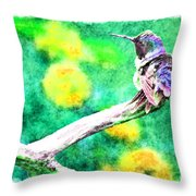 Ruffled Hummingbird - Digital Paint 5 Throw Pillow