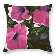 Ruffled Petunias Throw Pillow