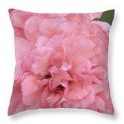Ruffled Pink Rose Throw Pillow