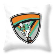 Rugby League Player Playing Ball Shield Retro Throw Pillow