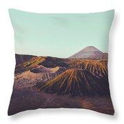 Rugged Mountainous Terrain Mount Bromo At Sunrise Throw Pillow