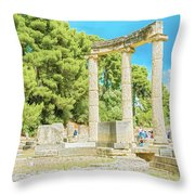 Ruin Of Philipp's Temple In Olympia, Greece Throw Pillow