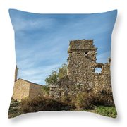 Ruined Building And Restored Church At Occi In Corsica Throw Pillow