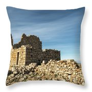 Ruined Stone Building At Occi In Corsica  Throw Pillow