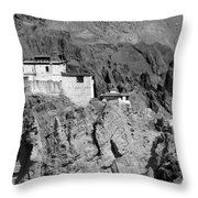 Ruins And Basgo Monastery Surrounded With Stones And Rocks Ladakh Throw Pillow