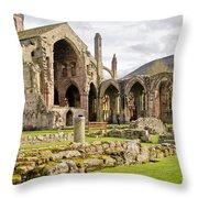 Ruins. Melrose Abbey. Throw Pillow