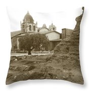 Ruins Of Carmel Mission Circa 1924 Throw Pillow