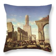 Ruins Of The Mosque Of The Caliph El Haken In Cairo Throw Pillow by Prosper Georges Antoine Marilhat