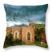 Ruins Under Stormy Clouds Throw Pillow