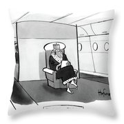 Ruling Class King Sits Alone In Separate Cabin On Airplane. Throw Pillow