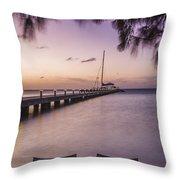 Rum Point Beach Chairs At Dusk Throw Pillow