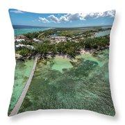 Rum Point Beach Panoramic Throw Pillow