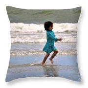 Run Splash Play Throw Pillow