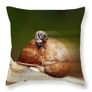 Runaway Snail Throw Pillow