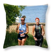 Runners At The 24 Hours Of Triathlon Throw Pillow