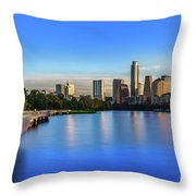 Runners, Joggers And Bikers Take An Early Morning Stroll On The The Boardwalk Trail Throw Pillow