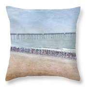 Runners On The Beach Panorama Throw Pillow