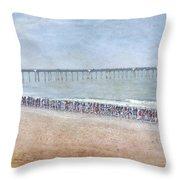 Runners On The Beach Panorama Throw Pillow