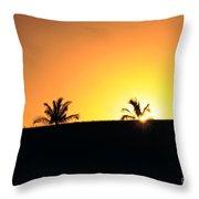 Running At Sunset Throw Pillow