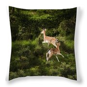 Running Dears Throw Pillow