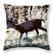 Running Deer Throw Pillow