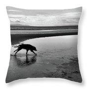 Running Dog Bw Throw Pillow