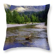 Running Eagle Creek Glacier National Park Throw Pillow