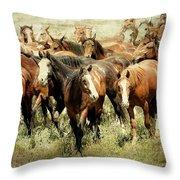 Running Free Horses IIi Throw Pillow