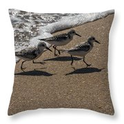 Running From The Water Throw Pillow