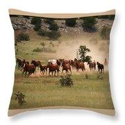 Running Herd Throw Pillow