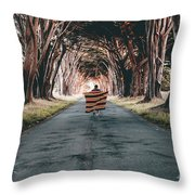 Running In The Forest Throw Pillow