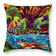Running River, Running Fox Throw Pillow