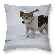 Running Through The Snow Throw Pillow