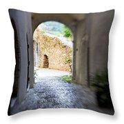Running Through Tunnel Throw Pillow