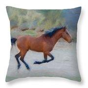 Running Wild Stallion Throw Pillow