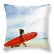 Running With Surfboard Throw Pillow