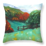Rural Autumn Landscape Throw Pillow