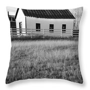 Rural Church Black And White Throw Pillow