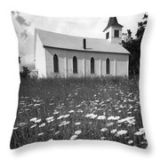 Rural Church In Field Of Daisies Throw Pillow