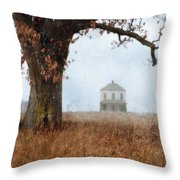 Rural Farmhouse And Large Tree Throw Pillow