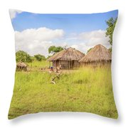 Rural Landscape In Zambia Throw Pillow