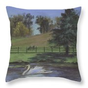 Rural Landscape Painting Of Bauer Farm Throw Pillow