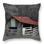 Rural Red - Red Roof Barn Rustic Country Rural Throw Pillow