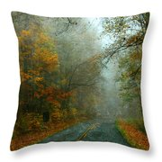 Rural Road In North Carolina With Autumn Colors Throw Pillow